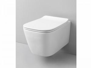 Artceram A16 eingestellter Wc-Topf rimless mit verzögerter Toilettendeckel weiß und matt ASV00305