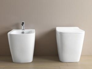 Artceram A16 Sanitären am Boden, rimless Wc-Topf, Bidet und verzögerter Toilettendeckel weiß und matt ASV00405+ASB00205+ASA00105
