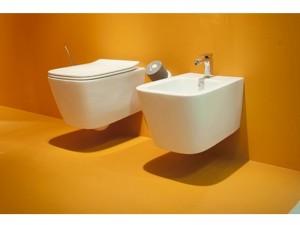 Artceram A16 eingestellte Sanitären, rimless Wc-Topf, Bidet und verzögerter Toilettendeckel