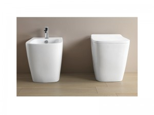 Artceram A16 Sanitären am Boden, rimless Wc-Topf, Bidet und verzögerter Toilettendeckel ASV004+ASB002+ASA001