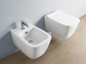 Artceram A16 kleine eingestellte Sanitären, rimless Wc-Topf, Bidet und verzögerter Toilettendeckel