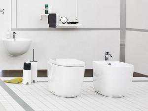 Artceram File Sanitären am Boden, rimless Wc-Topf, Bidet und verzögerter Toilettendeckel
