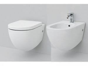 Artceram File eingestellte Sanitären, rimless Wc-Topf, Bidet und verzögerter Toilettendeckel