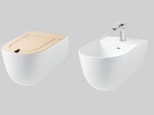 Artceram The One eingestellte Sanitären, Wc-Topf, Bidet und Toilettendeckel Rovere