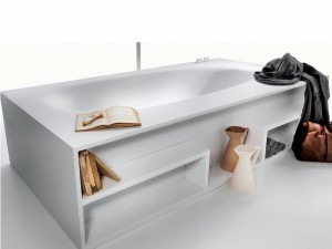 Falper Vascamisura vasca freestanding con mensole in legno VKE