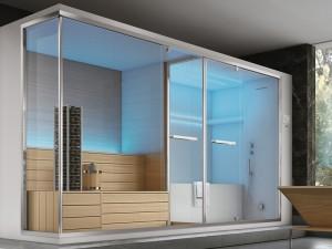 Hafro Olimpo eckiges Dampfbad mit Sauna, Dusche und Badewanne. cod. SET60021-1D009