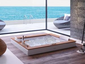 Jacuzzi Aura Plus Wood Whirlpool Badewanne mit Einbau 9H43334