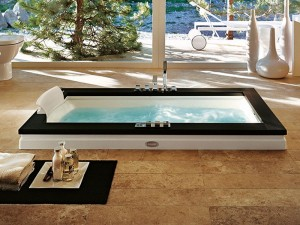 Jacuzzi Aura Uno Stone Badewanne mit Einbau 9F43809SX