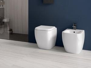 Rak Metropolitan Sanitären am Boden, Wc Topf, Bidet und Toilettendeckel